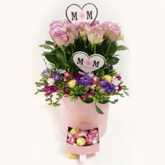 Happy Mother Day Pink Cylinder with Ferrero and Lindt Chocolate