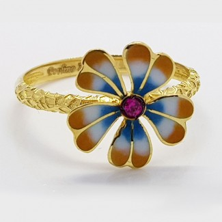 Multicolored Flower Gold Ring