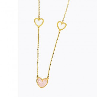 Pink Heart Gold Necklace