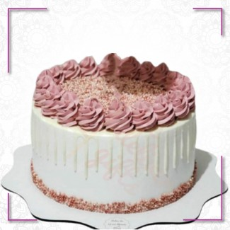 White Pink Frosty Cake