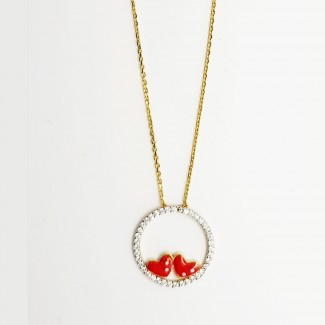 Red Hearts in a Circle Gold Necklace