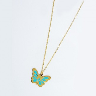 Butterfly Blue Gold Pendant