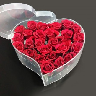 Plexi Heart in Red Roses
