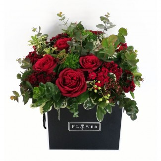 Flowers in Black Cubic Box