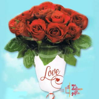 Rose Vase with Love Balloon