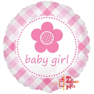 Baby Girl Plaid Flower Balloon