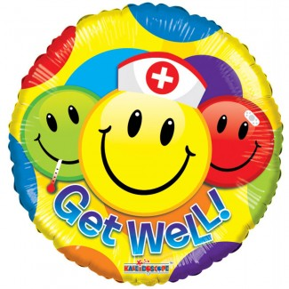Get Well Smiley Helium Balloon