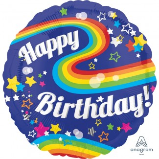 18 inch Rainbos Happy Birthday Balloon