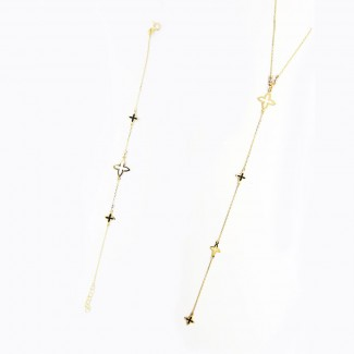 Gold Stars Necklace and Bracelet