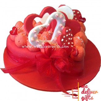 Full Of Love Hearts Cake