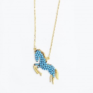 Blue Horse Gold Necklace
