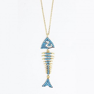 Blue Fish Gold Necklace