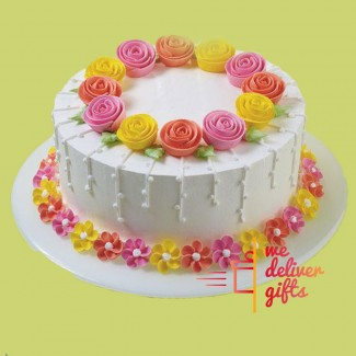 Multi Colored Roses Cake