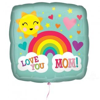 Love You MOM Rainbow Balloon