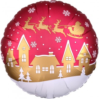 Santa Village Satin Balloon