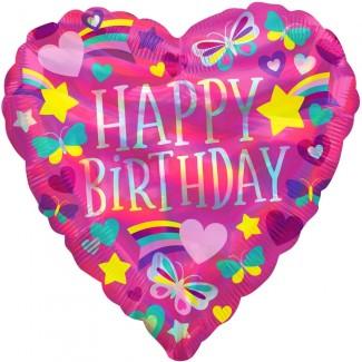 Rainbow heart birthday balloon