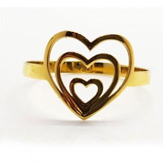 Three Hearts Gold Ring
