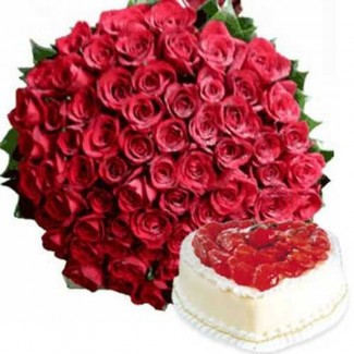 Valentine Package Cake and Roses