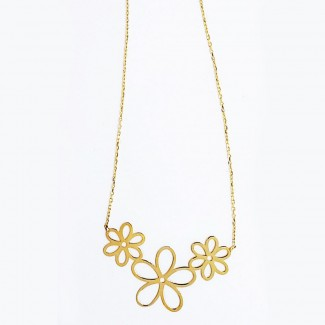 Three Flowers Gold Necklace