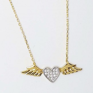 Heart Wings Gold Necklace