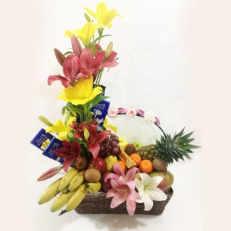 Elegant Decorated Chocolate-Fruits Basket