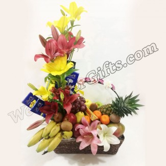 Elegant Decorated Chocolate Fruits Basket