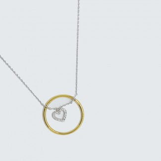 Diamond Heart in a Gold Circle Pendant