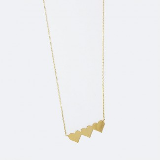Triple Hearts Gold Necklace