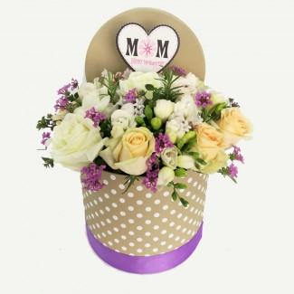 Purple and White Arrangement in Cylinder