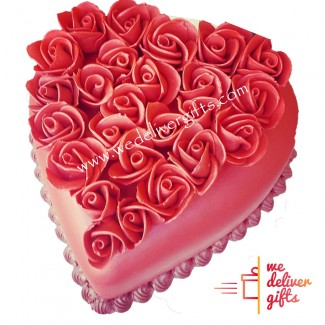 Heart Shape Cake with Roses on Top