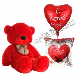 Bear Balloon and a Glitter Square Love Pillow