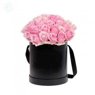 Pink Roses in Black Cylinder Box