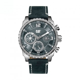 Caterpillar Chronograph leather dark blue watch