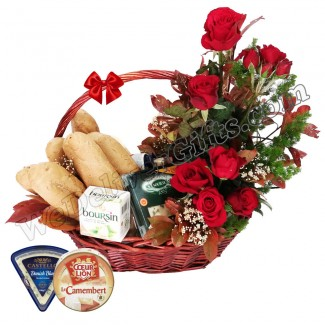 Cheese Basket with Red Roses