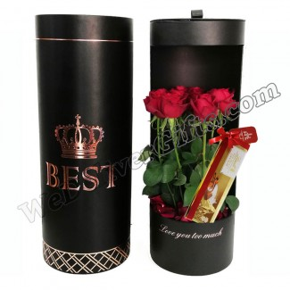 Cylinder Leather Box with Roses and Lindt Swiss Bar