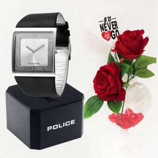 Police Black-Silver Analog Watch Valentine Package