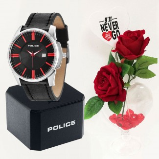 Mens Police Governor Watch Valentine Package