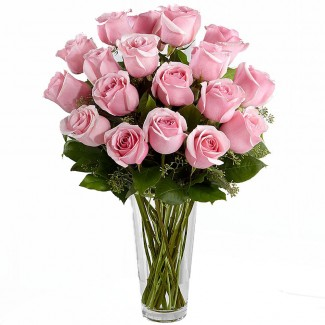 The Elegant Pink Roses in A Vase