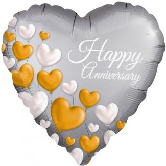 Foil Anniversary Platinum Heart Balloon