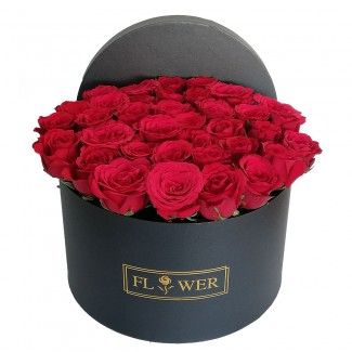 Cylinder of red roses