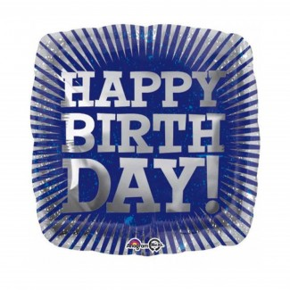 Grey Tone Burst Birthday Foil Balloon