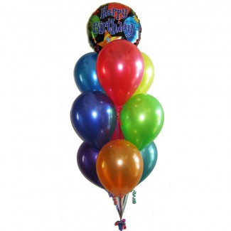 Happy Birthday Stripes Foil Balloon and Latex MultiColored