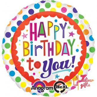 Happy Birthday To You Dots Balloon