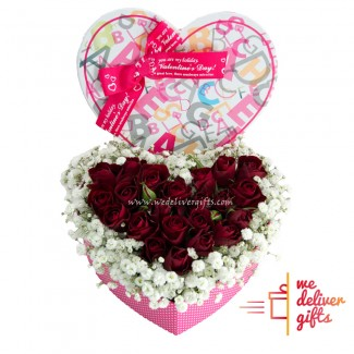 Heart Shape Pink with Red Roses