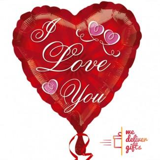 I LOVE YOU 2-Pink Hearts Balloon