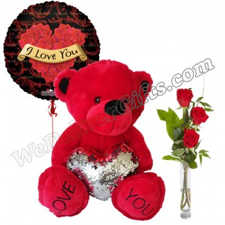 I Love You Bear Roses  and Balloon Combo