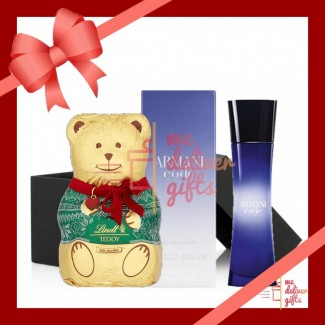 Armani code with chocolate teddy bear lindt