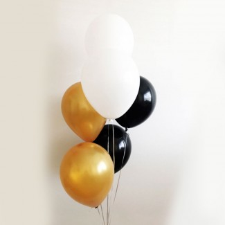 Latex black white Gold balloons