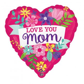 Love You Mom Cute Floral XL Balloon