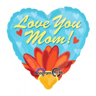 Love You Mom Daisy Heart Foil 18in Balloons